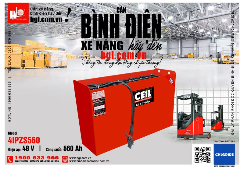 Bình điện xe nâng CEIL (Chloride) 48V - 560Ah 4IPZS560