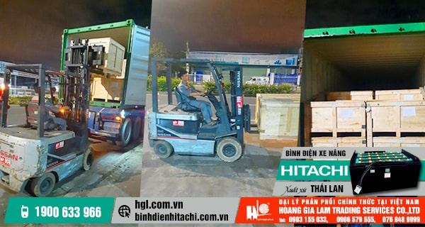 Hàng mới về 9.2019: 5 container bình điện xe nâng HITACHI xuất xứ Thái Lan mới 100%
