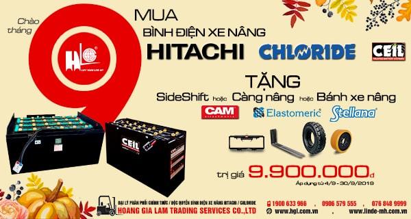 Mua bình điện xe nâng HITACHI/CHLORIDE (CEIL) tặng Side Shift CAM trị giá 9.900.000đ