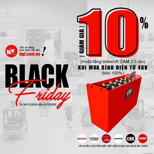 Black Friday 2020-Giảm giá 10% khi mua bình điện xe nâng từ 48V trở lên