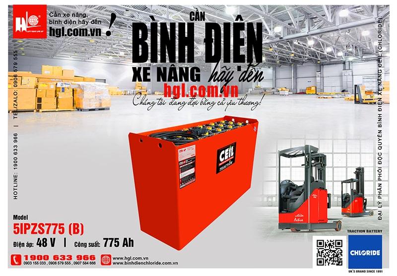 Bình điện xe nâng CEIL (Chloride) 48V - 775Ah 5IPZS775 (B)